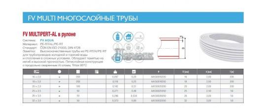 Металлопластиковая труба FV THERM PE-RT/AL/PE-RT 16х2,0  × 1м